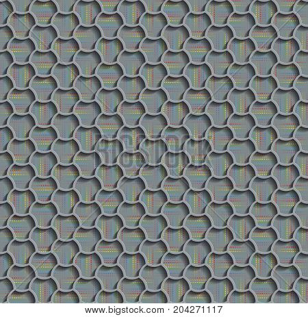 3d Seamless Web Hexagon Pattern. Gray Tile Surface Rainbow Dots Of Different Sizes On The Bottom Layer. Frame Border Wallpaper. Elegant Repeating Vector Ornament