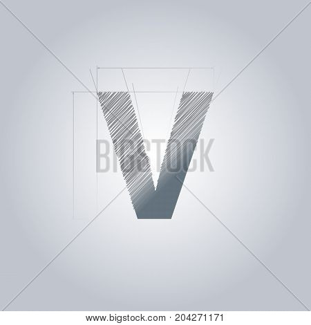 Letter V logo. Alphabet logotype architectural design. Grey color. Blueprint. With gradient.