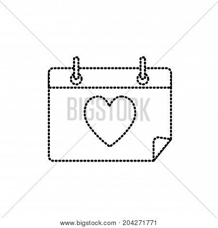 dotted shape calendar with heart to romantic special day vector illustration