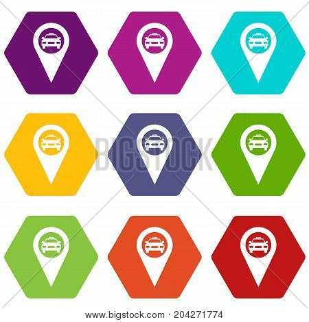 Geo taxi icon set many color hexahedron isolated on white vector illustration