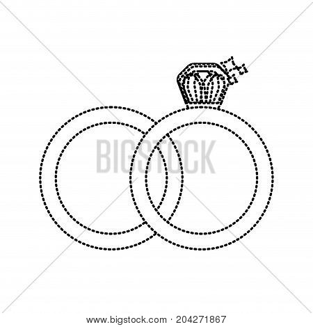 dotted shape wedding ring to symbolic the love vector illustration