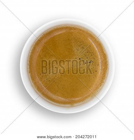 Top view of paper cup of coffee isolate on white background