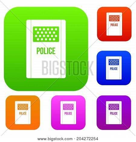 Riot shield set icon color in flat style isolated on white. Collection sings vector illustration