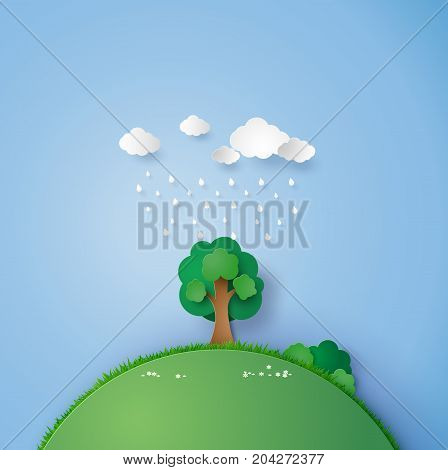 ilustration of a lone tree in the field with the rain and cloud. paper art and craft style.