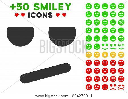 Bored Smile pictograph with bonus facial graphic icons. Vector illustration style is flat iconic elements for web design, app user interfaces.
