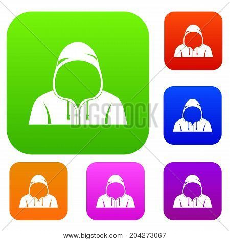 Hood set icon color in flat style isolated on white. Collection sings vector illustration