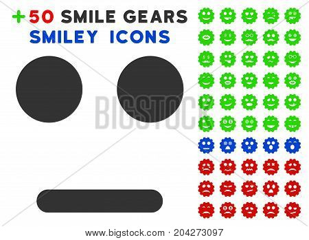 Indifferent Smile icon with bonus mood symbols. Vector illustration style is flat iconic elements for web design, app user interfaces.