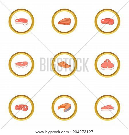 Kind of meat icons set. Cartoon style set of 9 kind of meat vector icons for web design