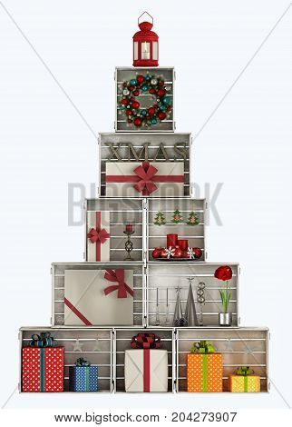 Christmas Trees Made With Wooden Crates - 3D Rendering