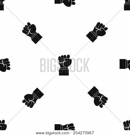 Raised up clenched male fist pattern repeat seamless in black color for any design. Vector geometric illustration