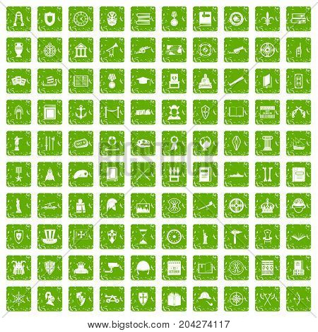 100 history icons set in grunge style green color isolated on white background vector illustration