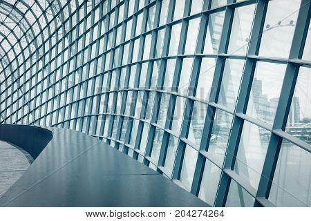 Structure of steel frame with glass.Abstract background. Structure truss