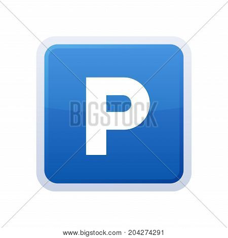 Parking Blue Glossy Sign on White Background. Vector illustration