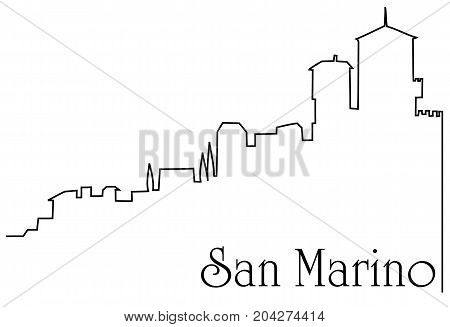 San Marino city one line drawing - abstract background with cityscape of European capitol