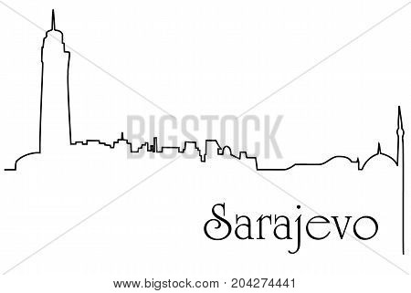 Sarajevo city one line drawing - abstract background with cityscape of European capitol