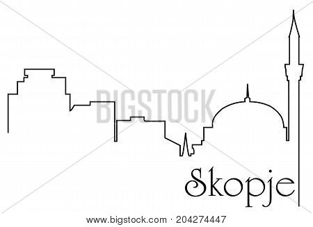 Skopje city one line drawing - abstract background with cityscape of European capitol