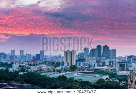 Cityscape morning scene in Singapore Singapore downtown.