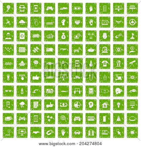 100 hi-tech icons set in grunge style green color isolated on white background vector illustration