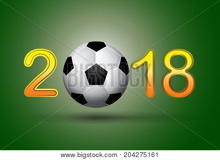 Soccer ball in 2018 digit on green background. Useful for calendar or general needs for sport and hobby banners. Vector illustration