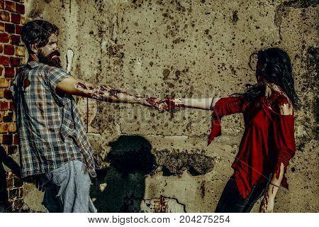 Halloween Zombie Couple On Concrete Wall
