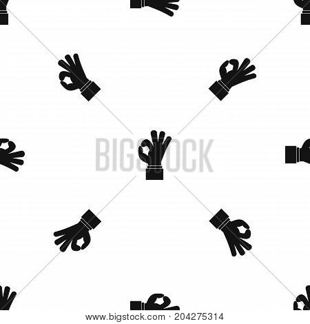 Ok gesture pattern repeat seamless in black color for any design. Vector geometric illustration