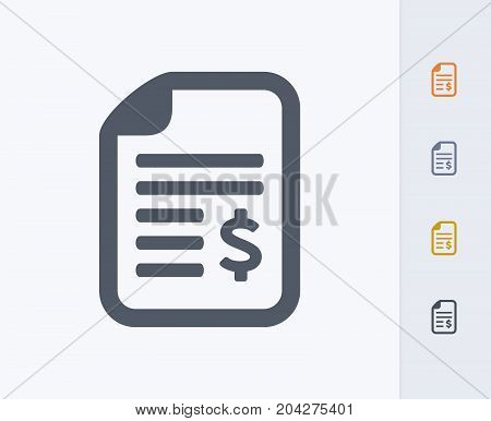 Document & Dollar Sign - Carbon Icons. A professional, pixel-perfect icon designed on a 32x32 pixel grid and redesigned on a 16x16 pixel grid for very small sizes