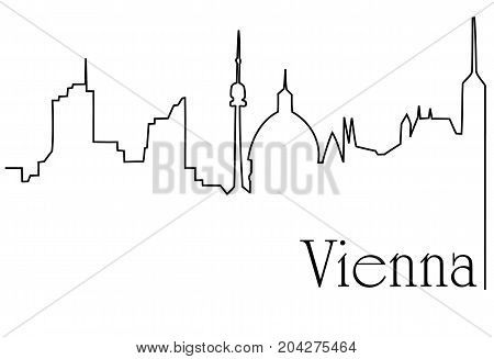 Vienna city one line drawing  - abstract background with cityscape of European capitol