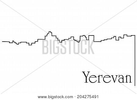 Yerevan city one line drawing  - abstract background with cityscape of European capitol