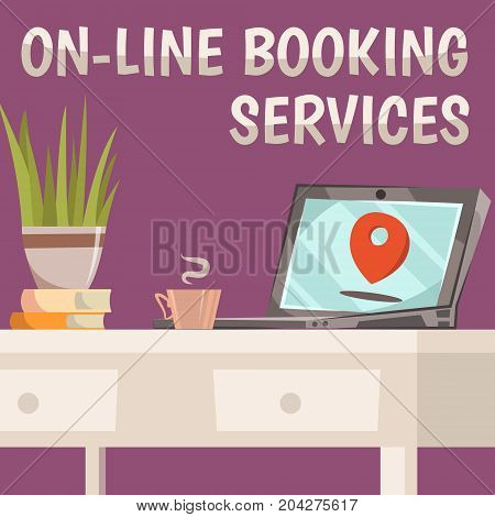 Online booking services composition with the ability to book anything through your computer vector illustration