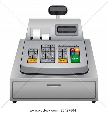 Cash machine icon. Realistic illustration of cash machine vector icon for web design isolated on white background