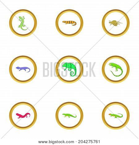 Lizard icons set. Cartoon style set of 9 lizard vector icons for web design