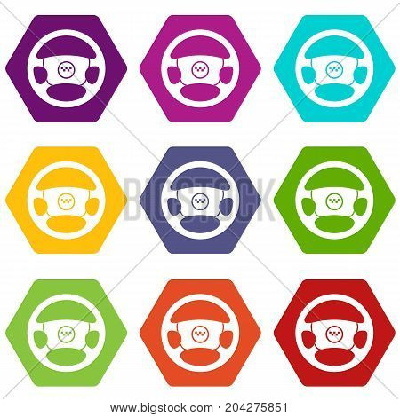 Steering wheel of taxi icon set many color hexahedron isolated on white vector illustration
