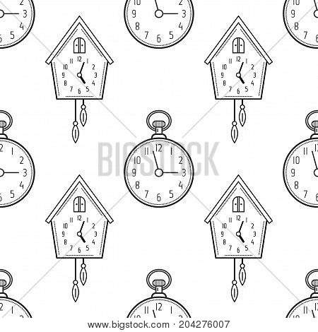 Pocket watch and cuckoo clock. Black and white seamless pattern for coloring books, pages. Vector illustration.