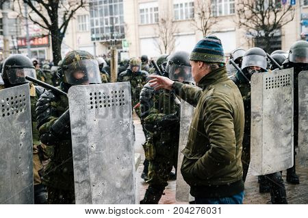 Minsk Belarus - March 25 2017: Dispersal of peaceful demonstration. Protest against the decree 3 'On prevention of social parasitism' of President Lukashenko and the current authorities.