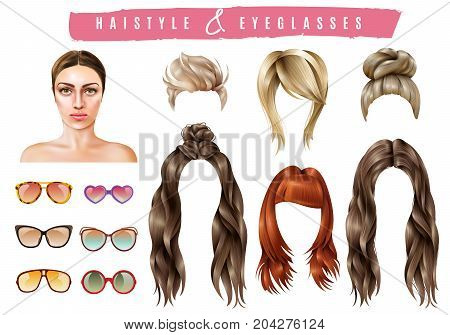 Women hairstyle eyeglasses collection with isolated realistic images of female hair and sunglasses of different shape vector illustration