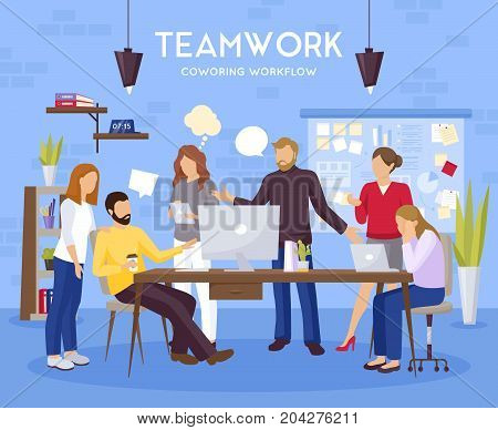 Teamwork background with coworking office workflow symbols flat vector illustration