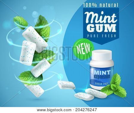Realistic mint gum poster with swirl of chewing pads and green leaves on blue background vector illustration