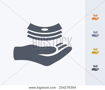 Hand Receiving Cash - Carbon Icons. A professional, pixel-perfect icon designed on a 32x32 pixel grid and redesigned on a 16x16 pixel grid for very small sizes