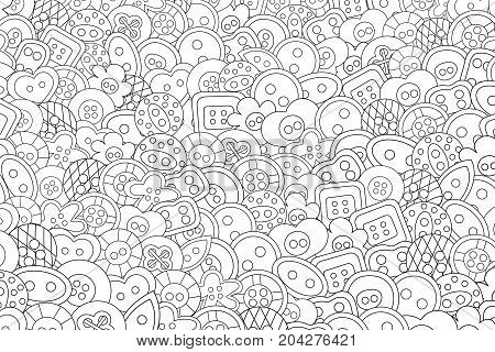 Sewing buttons handmade craft concept cartoon doodles background design. Hand drawn black and white outline coloring page vector illustration.