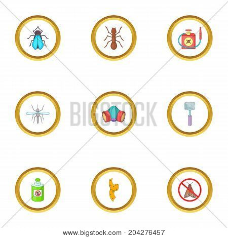 Insect destruction icons set. Cartoon style set of 9 insect destruction vector icons for web design