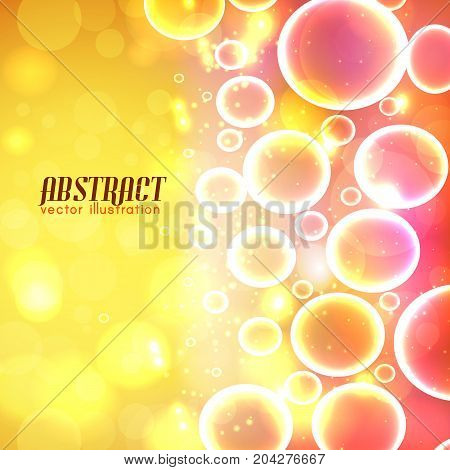Abstract blurred red yellow background with transparent bubbles of various size and sparkles vector illustration