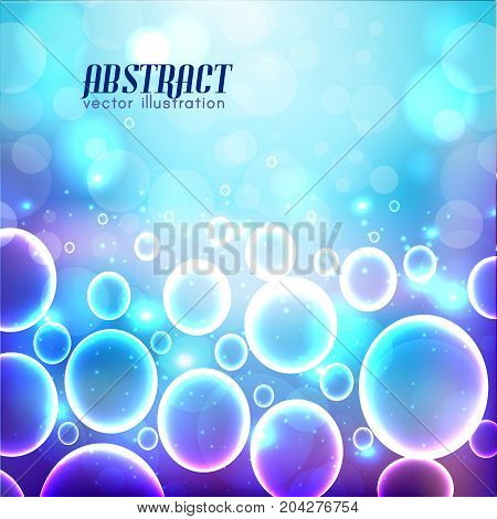 Background from pale to dark blue color with bubbles of various size and blurred lights vector illustration