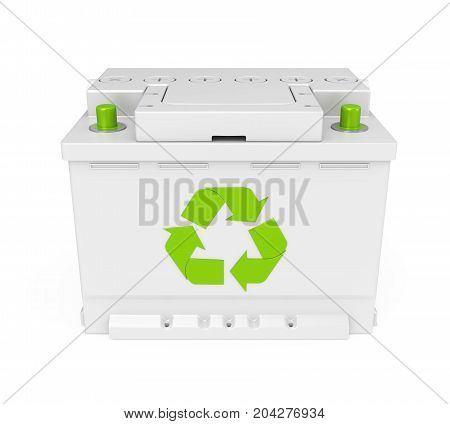 Recycle Car Battery isolated on white background. 3D render