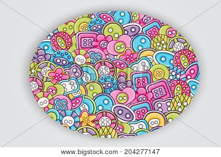 Sewing buttons handmade craft concept in 3d cartoon doodles background design. Hand drawn colorful vector illustration.