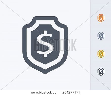 Shield & Dollar Sign - Carbon Icons. A professional, pixel-perfect icon designed on a 32x32 pixel grid and redesigned on a 16x16 pixel grid for very small sizes