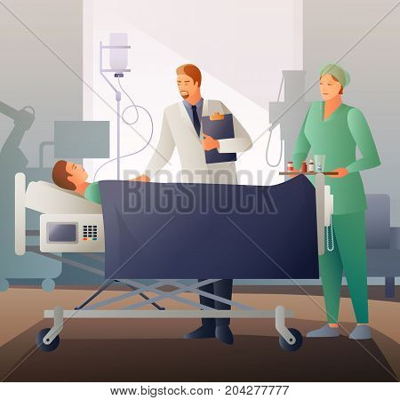 Doctor and nurse with medication near bed with sick in hospital ward flat composition vector illustration