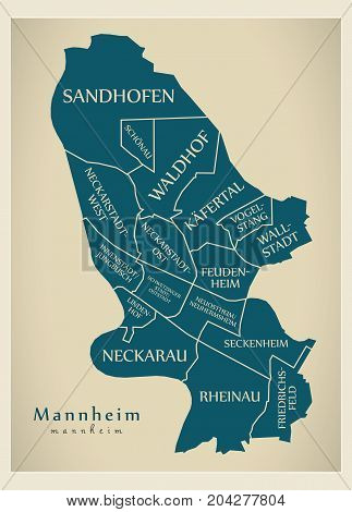 Modern City Map - Mannheim City Of Germany With Boroughs And Titles De