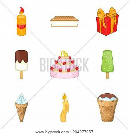Amuse icons set. Cartoon set of 9 amuse vector icons for web isolated on white background