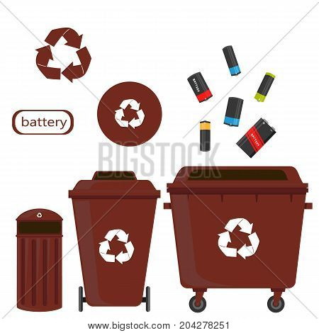 sorting of waste and recycling - battery. Symbols, types. Sorting garbage. Ecology and recycle concept. vector flat illustrations.