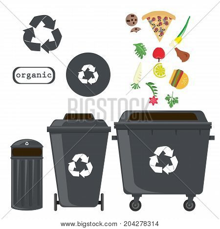sorting of waste and recycling - organic. Symbols, types.Sorting garbage. Ecology and recycle concept. vector flat illustrations.